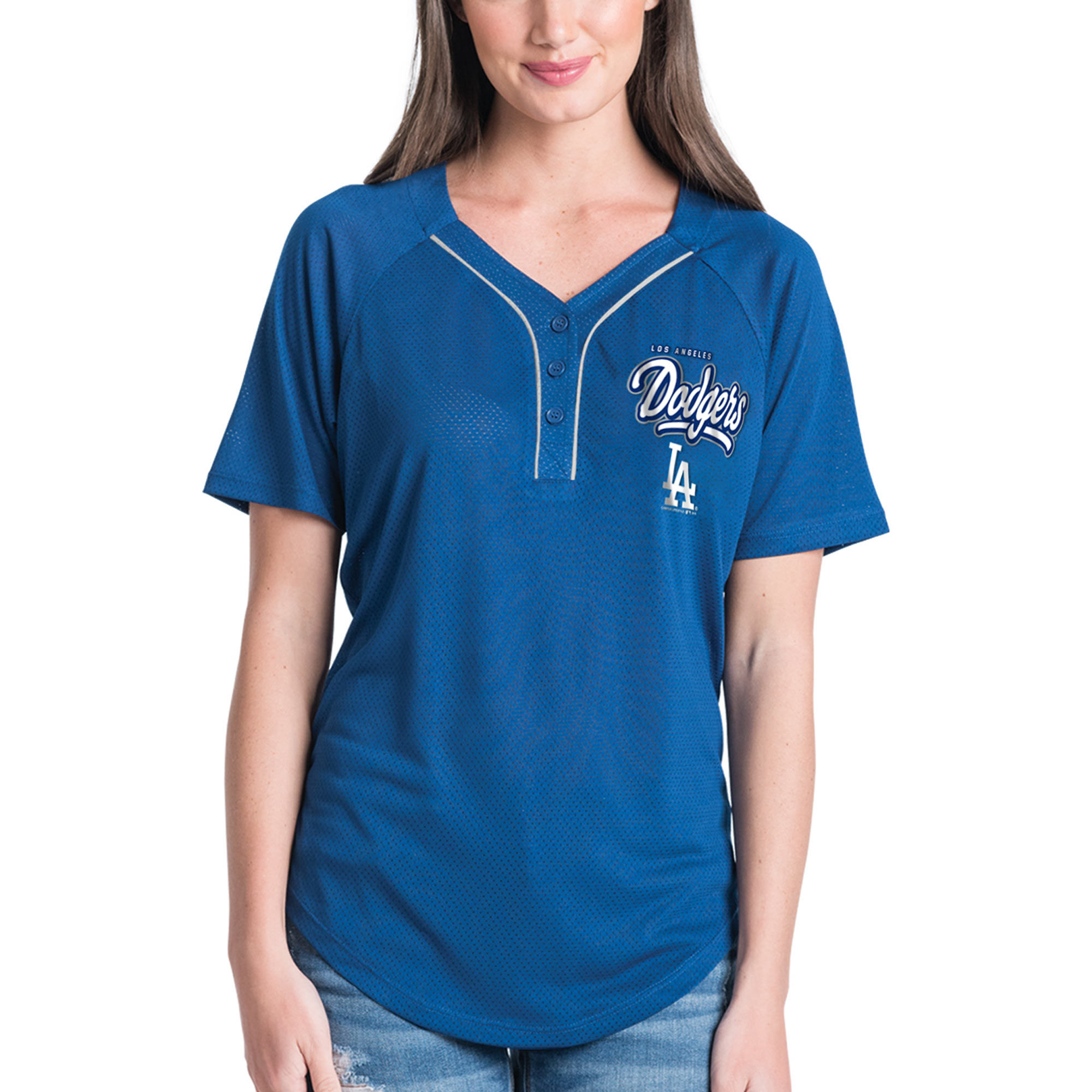 ... reduced product image womens new era royal los angeles dodgers henley  mesh jersey t shirt 21175 69af02e5294