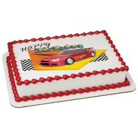 Birthday Race Car Edible Cake Topper Image