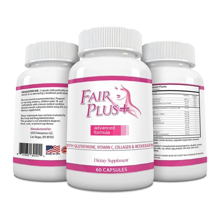 FairPlus Skin Whitening Pills Advanced Formula for Fair and Beautiful Skin with Glutathione, Vitamin C, Collagen, Green Tea, and Resveratrol (60