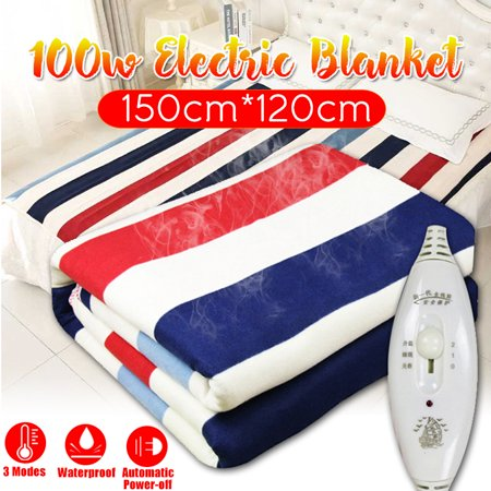 220V 100W Heated Blanket Electric Automatic Flannel Fleece Warm Pad Winter Cover Heater Waterproof Soft Comfort heating Bed Overheat Protection Auto Shut-Off Double Use+ (Best Double Electric Blanket)