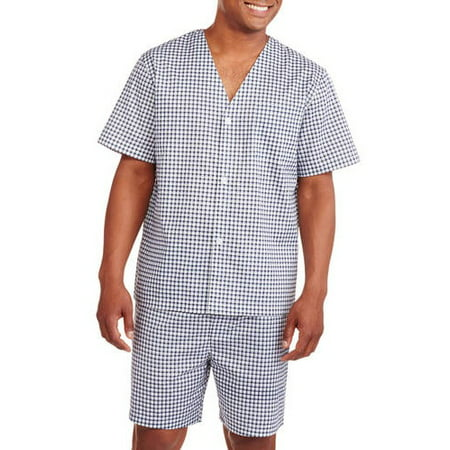 Fruit of the Loom Men's Short Sleeve Knee-Length Pant Print Pajama Set