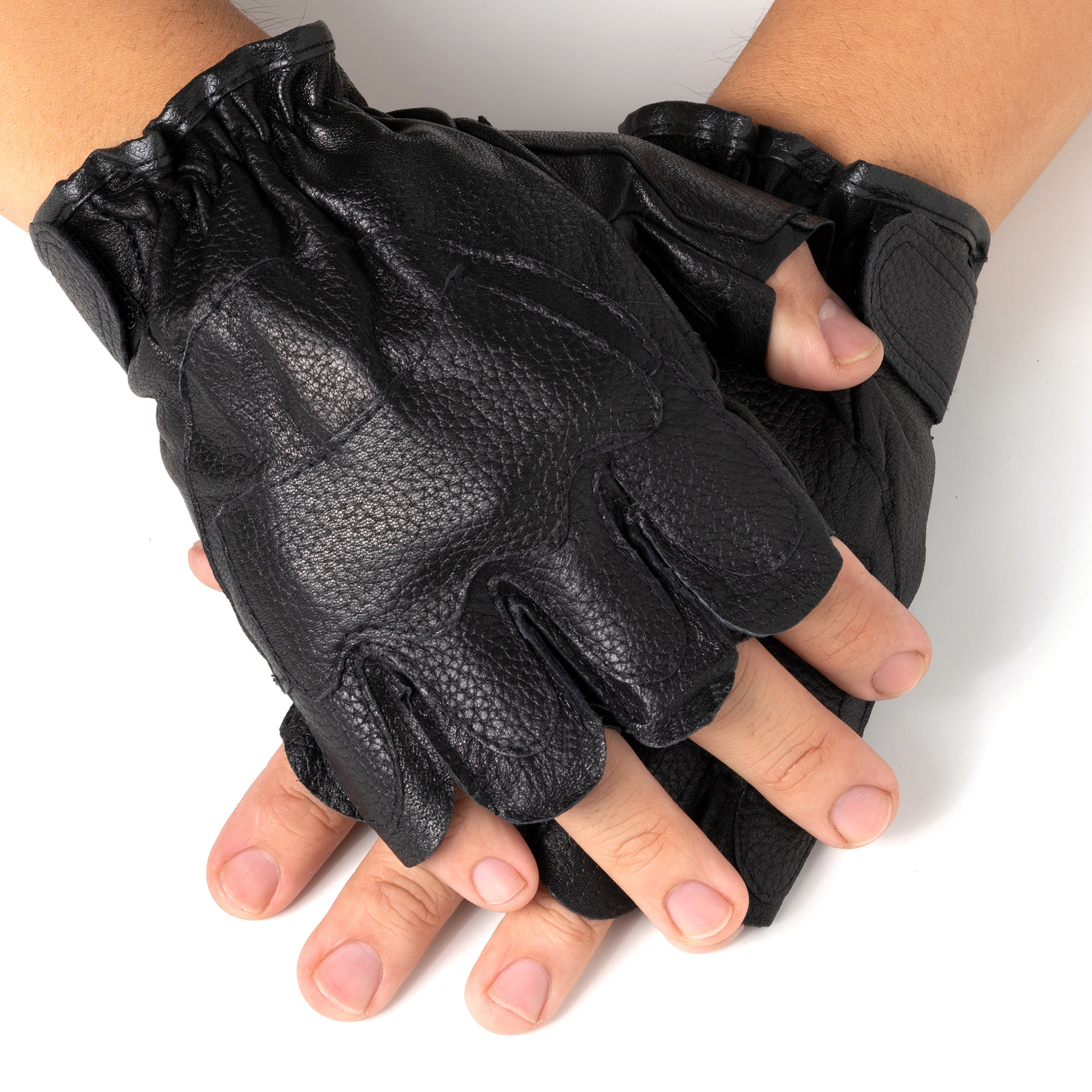 L Regular Milwaukee MENS MOTORCYCLE RIDING LEATHER FINGERLESS GLOVES BLACK FLAMES SOFT LEATHER