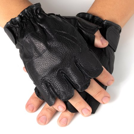 Black Riding Glove (Alpine Swiss Mens Fingerless Gloves Genuine Leather for Workout Training Riding)