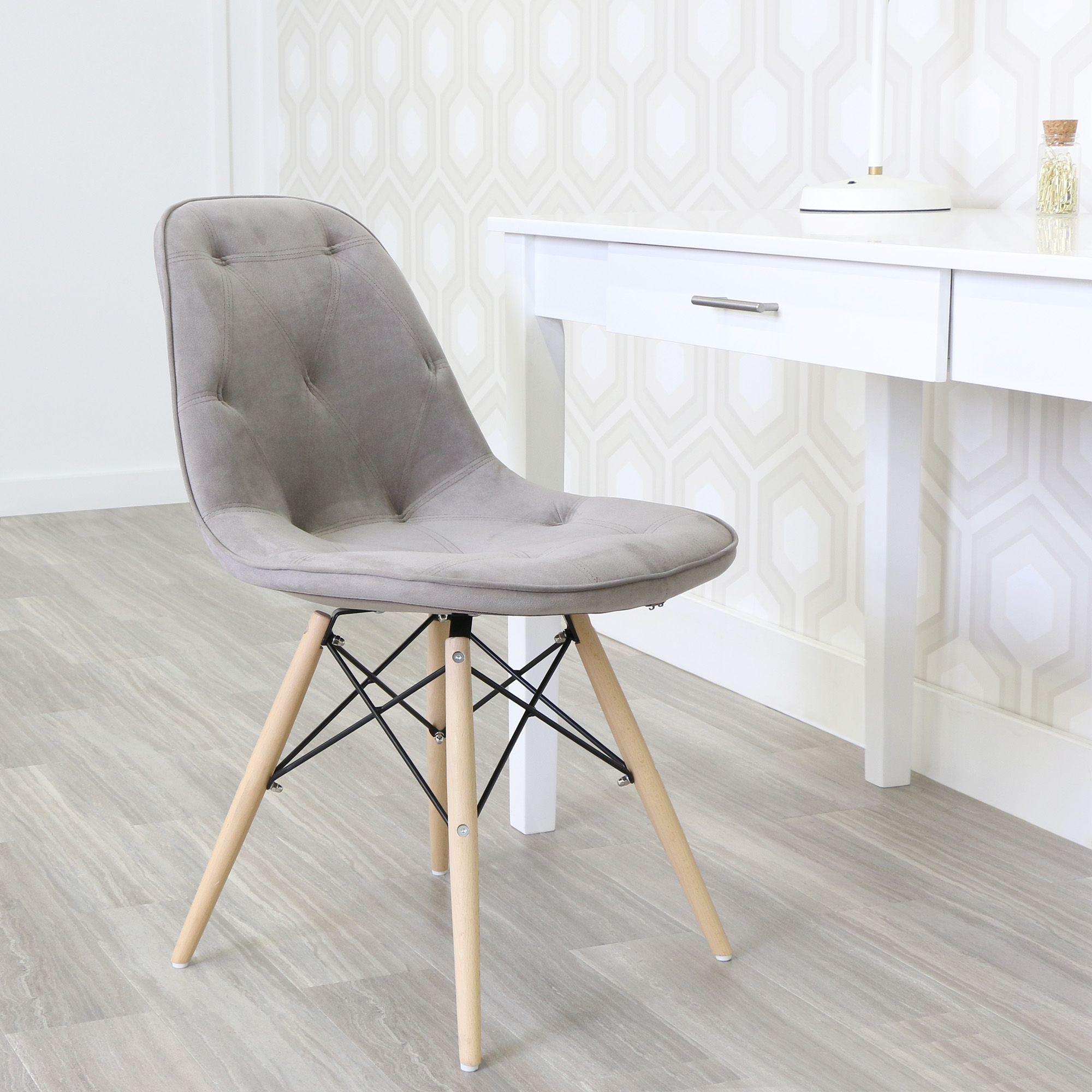 Walker Edison Upholstered Eames Chairs, Grey, Set of 2