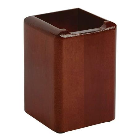 Rolodex Wood Tones Pencil Cup, Mahogany, 3 1/8 x 3 1/8 x 4 1/2 Mahogany Tone Wood