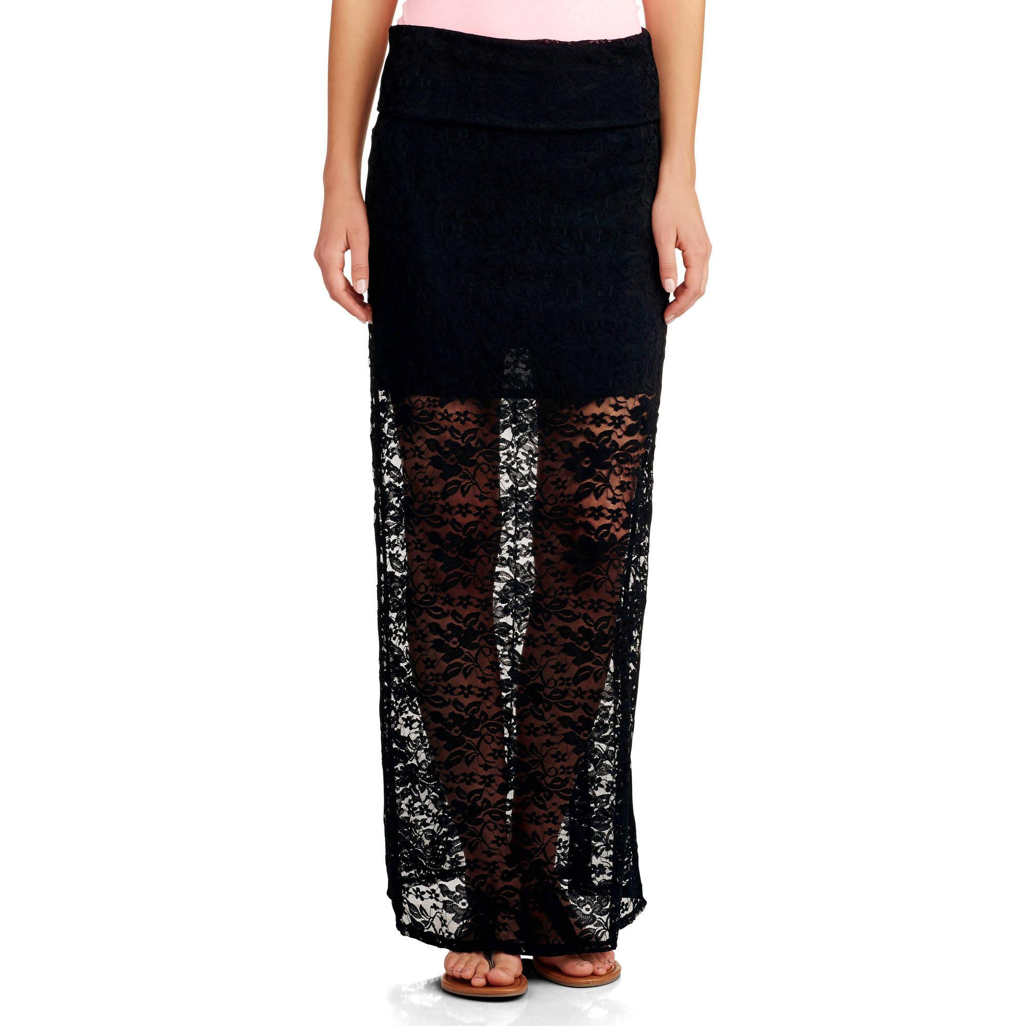 no boundaries juniors rollover waist lace maxi skirt
