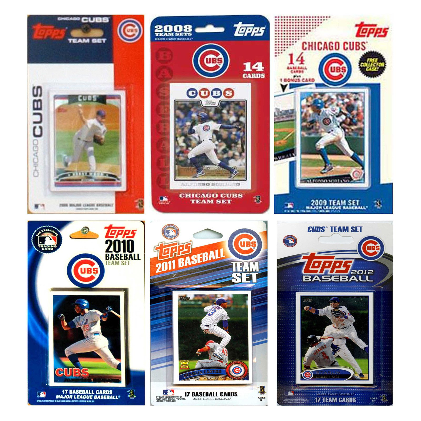 MLB Chicago Cubs 6 Different Licensed Trading Card Team Sets