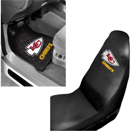 NFL Kansas City Chiefs 2 pc Front Floor Mats & Car Seat Cover Bundle
