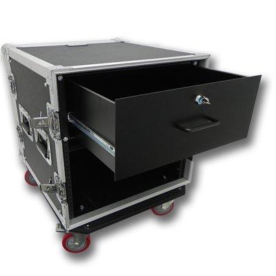 Seismic Audio 10 SPACE RACK CASE WITH 4U LOCKING DRAWER Amp Effect Mixer PA/DJ PRO CASTERS - SAR102rd4u