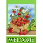 Strawberry Basket Welcome Summer Garden Flag