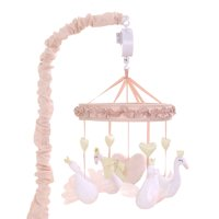 Baby Girl Musical Crib Mobile - Pink Swans and Hearts - Grace Collection by The Peanut Shell