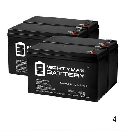 Pda Battery (12V 8Ah Razor Pocket Mod Sweet Pea 15130659 Scooter Battery - 4 Pack )