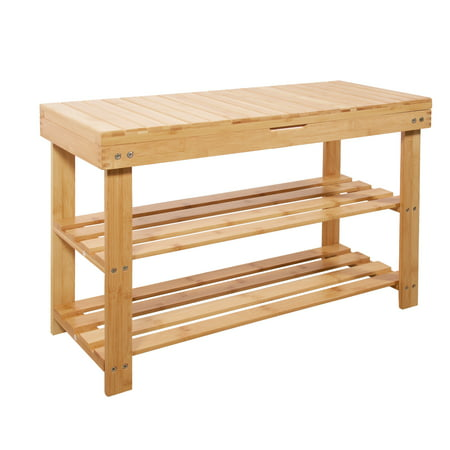 Mllieroo Bamboo 2 Tier Shoe Rack Storage Bench Organizer Entryway Organizing Shelf with Storage Drawer ()