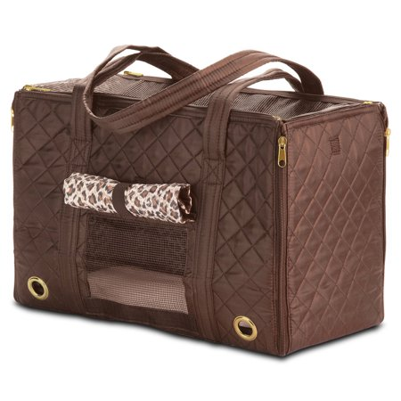 Small Open Pet Tote - Sherpa Park Tote Pet Carrier, Small, Brown (55102)