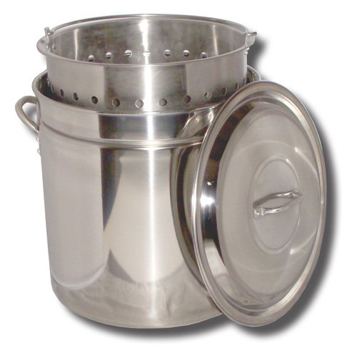 King Kooker 44 Qt. Stainless Steel Boiling Pot with Steam Rim. Lid and Basket