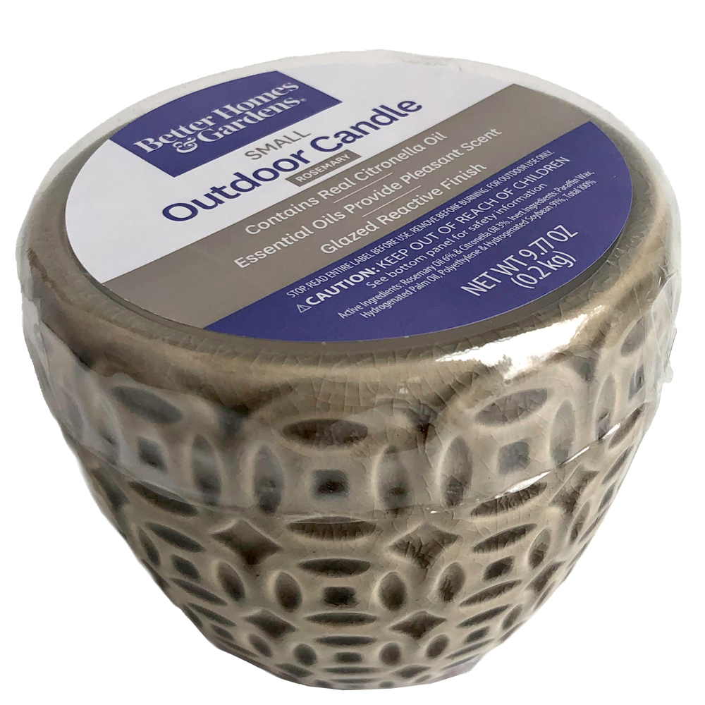 Better Homes & Gardens Small Tan Glazed Ceramic Citronella Outdoor Candle with Rosemary Essential Oil, 9.77oz