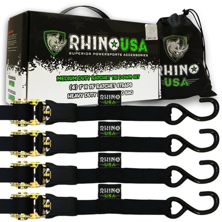 RHINO USA Ratchet Straps Tie Down Kit - 1,823lb Guaranteed Max Break Strength, Includes (4) Premium 1