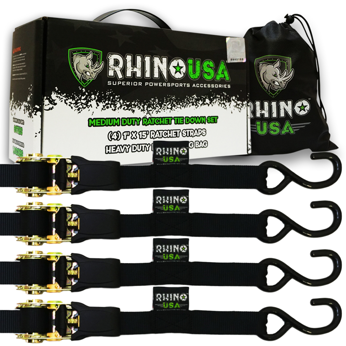 """RHINO USA Ratchet Straps Tie Down Kit - 1,823lb Guaranteed Max Break Strength, Includes (4) Premium 1"""" x 15' Rachet Tie-Downs with Padded Handles. Best for Moving, Securing Motorcycle, and Equipment"""