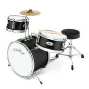 "Ashthorpe 3-Piece Complete Kids Junior Drum Set - Children's Beginner Kit with 14"" Bass, Adjustable Throne, Cymbal, Pedal & Drumsticks - Black"