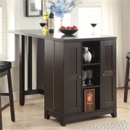 Coaster counter height table with built in bar cabinet for Built in bar counter