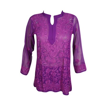 Mogul Womens Beautiful Purple Floral Hand Embroidered Tunic Blouse Long Sleeves Georgette Sheer Kurti Cover Up Top Dress (Floral Georgette Blouse)