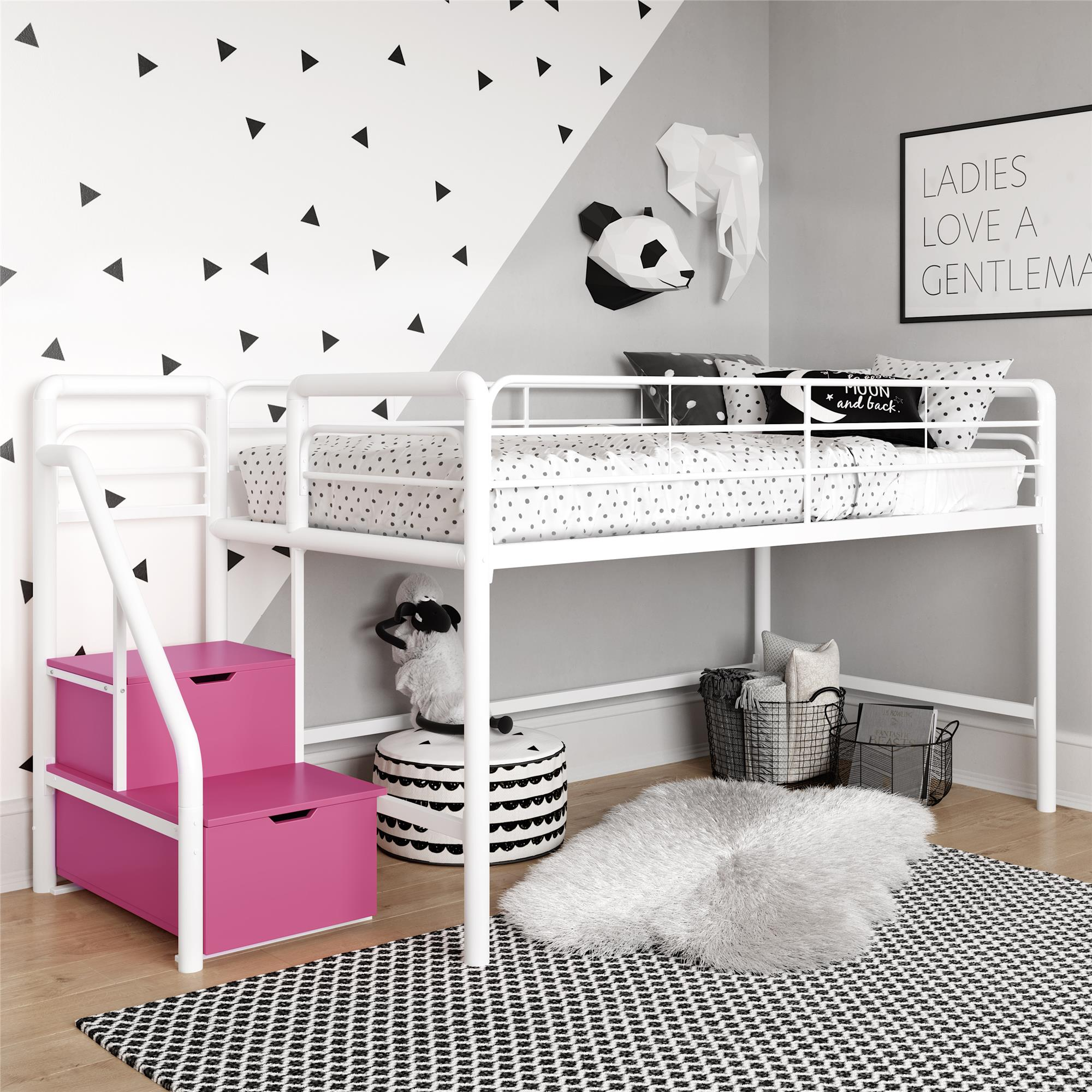 Image of: Junior Twin Loft Bed With Storage Steps Pink And White Walmart Com Walmart Com