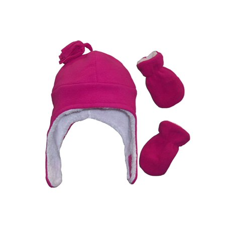 NICE CAPS Little Girls Toddler and Infants Soft and Warm Sherpa Lined Micro Fleece Pilot Hat and Mitten Cold Weather Winter Headwear Accessory Set - Fits Kids Sizes