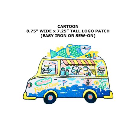 Fish n' Chips Cute Kawaii Bus Embroidered Iron/Sew-on Cartoon Theme Logo Patch/Applique (Fish And Chips For Parties)