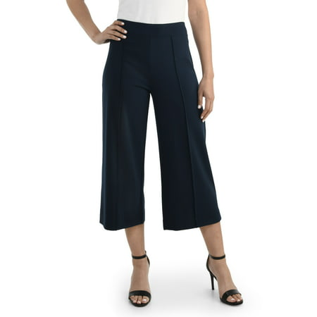 Seek No Further Women's Wide Leg Ponte Cropped Pants Menswear Crop Pants