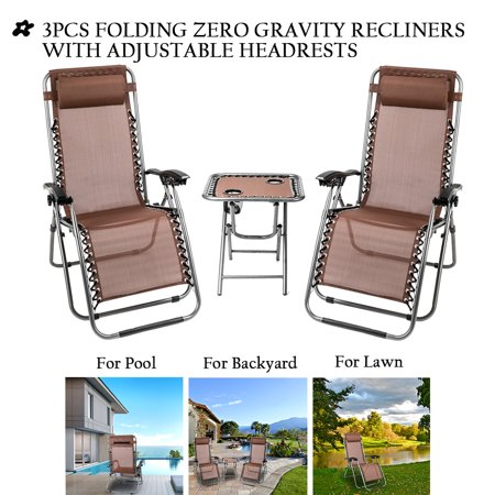 Remarkable Clearance Patio Lounge Chairs 3 Piece Zero Gravity Chair And Free Table W 2 Cup Holders Folding Lounge Chaise Recliners W Padded Headrest Hold Unemploymentrelief Wooden Chair Designs For Living Room Unemploymentrelieforg