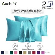 "2 Pack Satin Silk Pillowcase for Hair and Skin, Ultra Silky Satin Pillow Covers with Envelope Closure, Both Sides Artificial Silk, Multiple Colors and Sizes - Standard Size (20""x26"")  Jewel Blue"