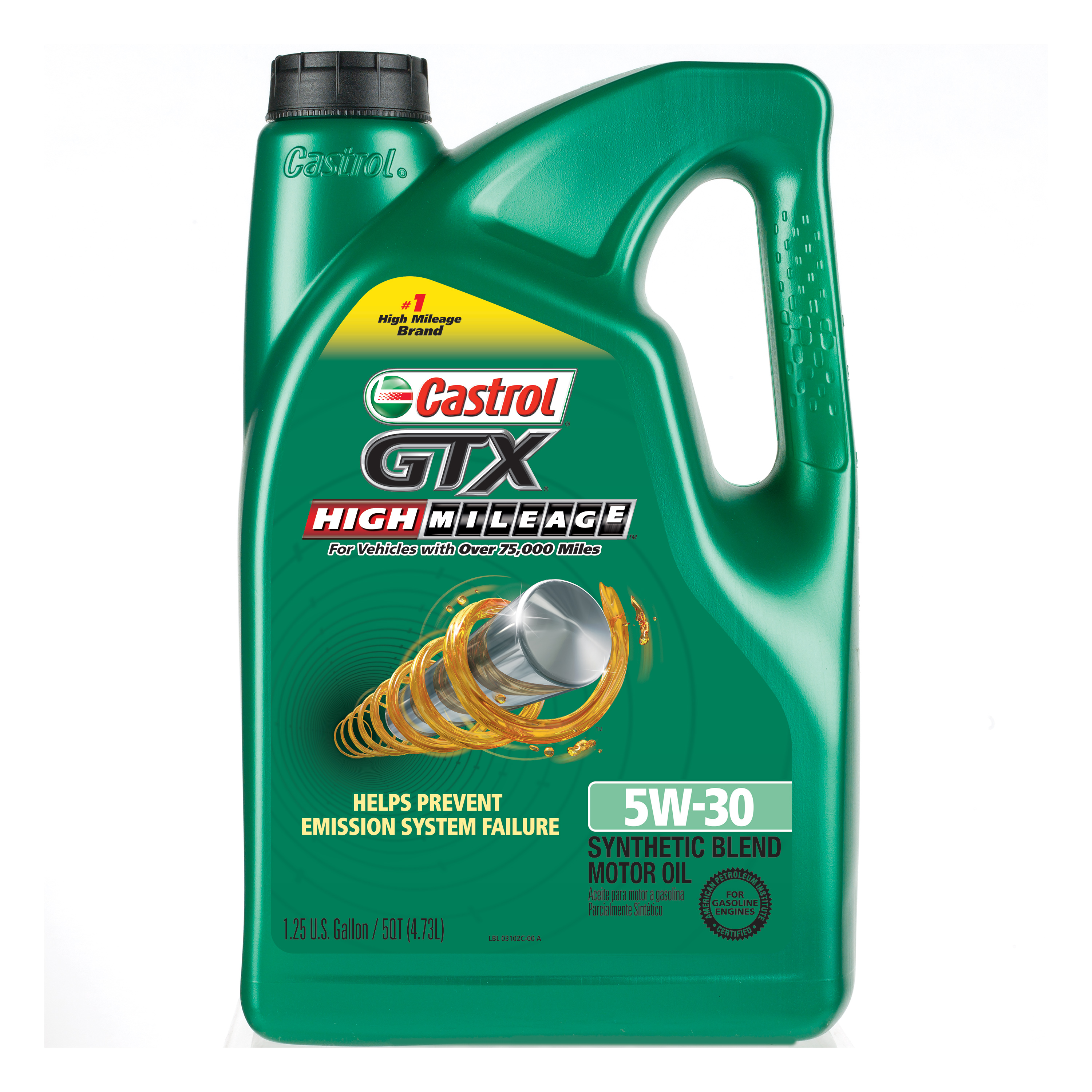 Castrol GTX High Mileage 5W-30 Synthetic Blend Motor Oil, 5 QT