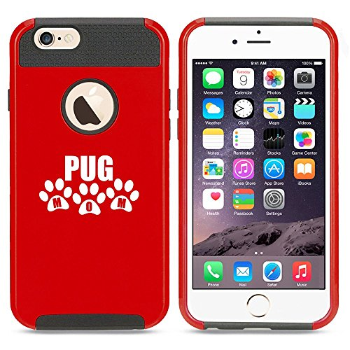 Apple iPhone 6 Plus / 6s Plus Shockproof Impact Hard Case Cover Pug Mom (Red),MIP
