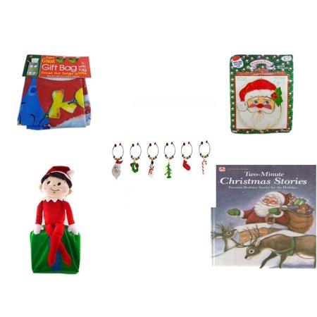 Christmas Fun Gift Bundle [5 Piece] - Super Giant Gift Bag With Tag - Jumbo  Suncatcher Santa - LSArts Wine Glass Charms  Set of 6 - Elf On