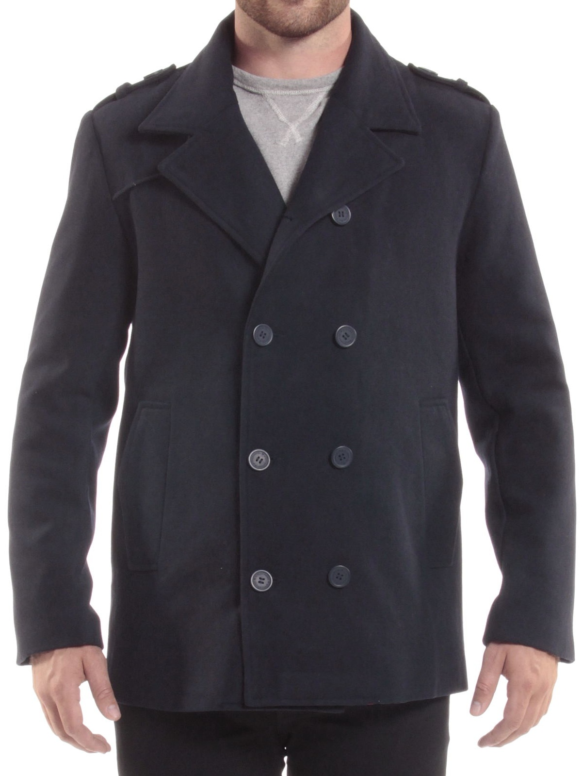 Alpine Swiss Jake Mens Pea Coat Wool Blend Double Breasted Dress Jacket Peacoat by alpine swiss