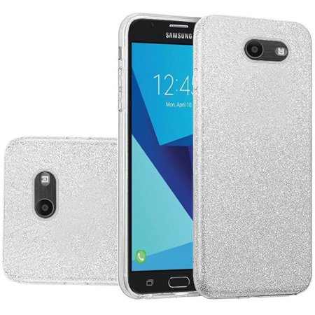 Clear Paper (For Samsung J7 Prime Perx Sky Pro J7V 2017 Hybrid Clear PC TPU with Glitter Paper -)