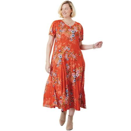 e19ea5cbd6d Woman Within - Plus Size Petite Crinkle Dress - Walmart.com