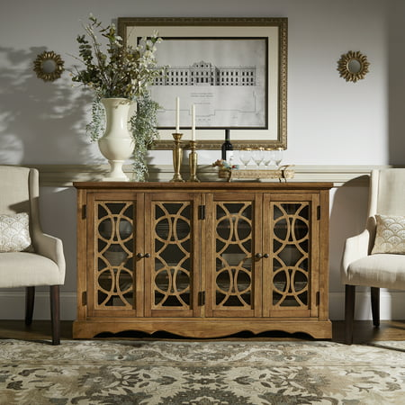 Weston Home Lynsky Glass Front Console Buffet Server, Multiple Finishes