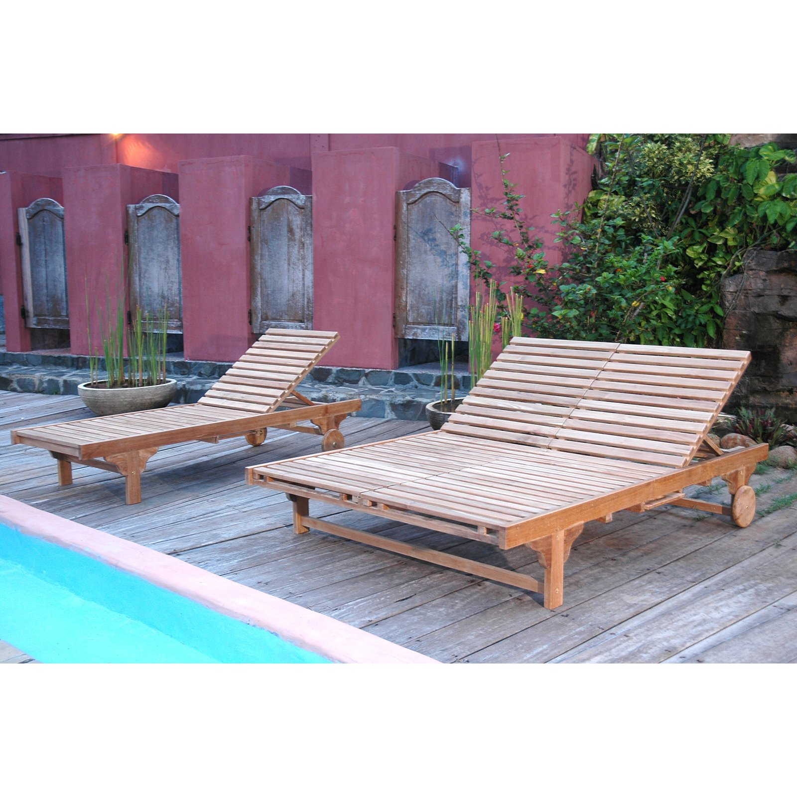 Anderson Teak Bel-Air Sun Double Chaise Lounge Chair ...