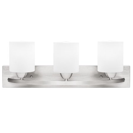 Best Choice Products 3-Light Vanity Wall Sconce Lighting Fixture for Home, Bathroom, Bedroom w/ Frosted Glass - Silver ()