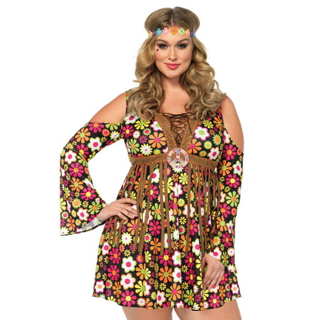 Leg Avenue Women's Plus Size Groovy Hippie 60s Costume](60s And 70s Costumes)