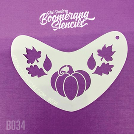 Elsa Halloween Pumpkin Stencils (Art Factory Boomerang Stencil - Pumpkin and Leaves Fall Crown, Reusable Face Painting Stencil, Great for Fairs, Carnivals, Party and)