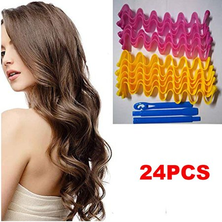 Hair Rollers,24pcs Hot New DIY Curl Formers Water Ripple Hair Divider Magic Hair Curlers Curl Formers Spiral Ringlets Leverage Rollers (Best Curlers For Big Curls)