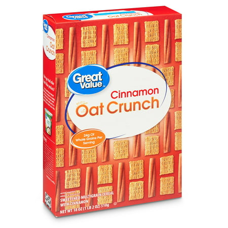 General Mills Whole Grain Cereals - (3 Pack) Great Value Cinnamon Oat Crunch Whole Grain Oat Cereal, 18 oz