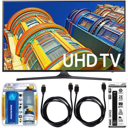 Samsung UN55KU6300 – 55-Inch Smart 4K UHD HDR LED TV Essential Accessory Bundle includes TV, Screen Cleaning Kit, 6 Outlet Power Strip with Dual USB Ports and 2 HDMI Cables