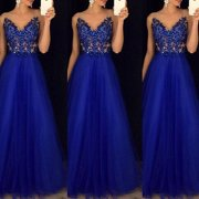 Formal Wedding Bridesmaid Long Evening Party Ball Prom Gown Cocktail Maxi Dress Size S