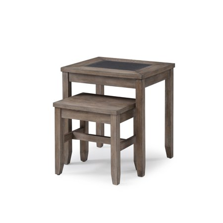 Emerald Home Nevada Honey Amber Nesting Tables with Straight Legs And Space Saving Design