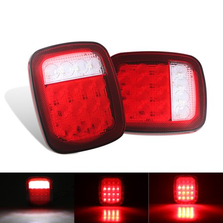 Truck Tail Lights, EEEKit Waterproof 12V 16 LED Red/white Combination Tail Light Back Up Rear Stop Turn Light for Jeep, Trailers, Trucks, SUV, RV, Vans, Pack of 2 (Light Up Vans)