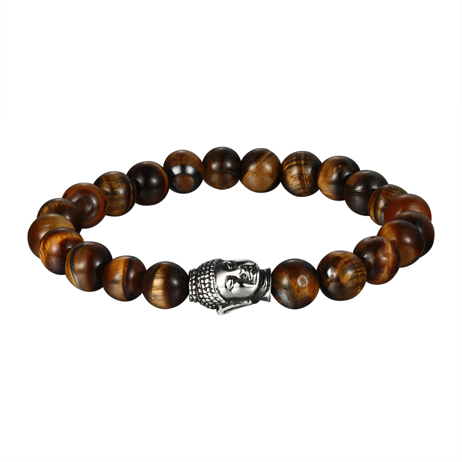 Master Of Bling Tiger Eye Bead Bracelet Shamballa Buddha Head
