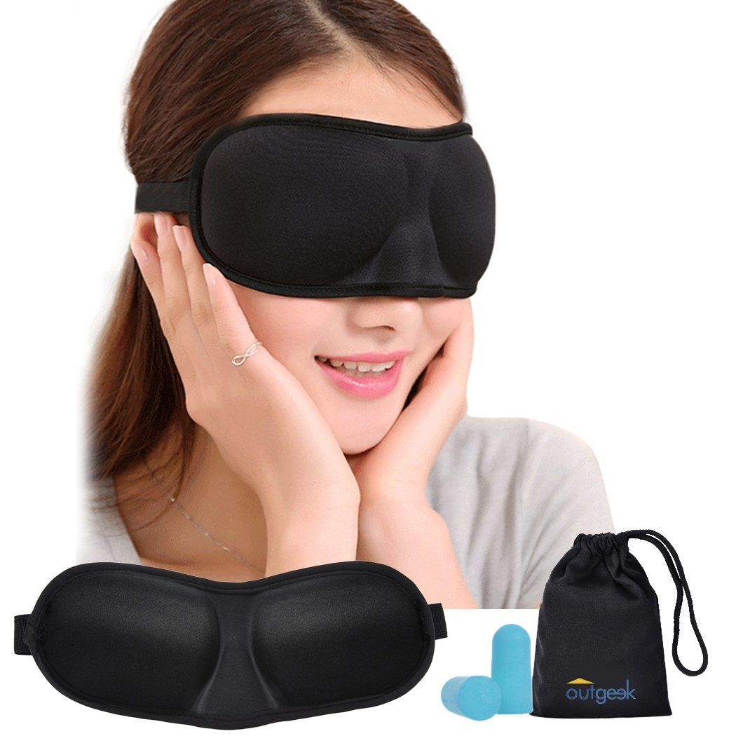 Outgeek Sleep Mask Elastic Contoured 3D Eye Mask Airplane Travel Eye Covers with Earplugs Carry Pouch for Adult Men Women Female Travel Accessories